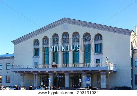 VIlnius, Lithuania - January 07, 2017: Vilnius airport at sunny day at VIlnius, Lithuania on January 07, 2017