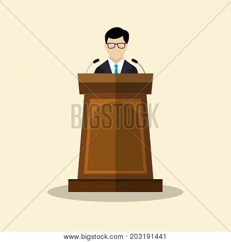 Speaker icon. orator speaking from tribune Businessmen with podium vector flat style colorful illustration
