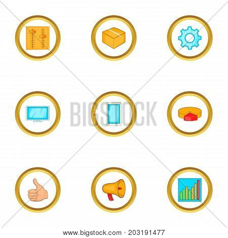 Infographic parts icons set. Cartoon set of 9 infographic parts vector icons for web isolated on white background