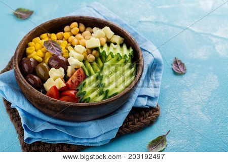 Raw food diet or clean eating concept. Lent vegetable salad. Space for text