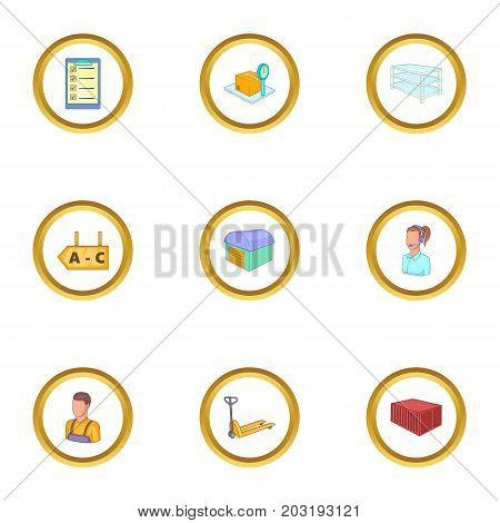 Storage icons set. Cartoon set of 9 storage vector icons for web isolated on white background