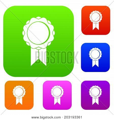 Rosette with ribbon set icon in different colors isolated vector illustration. Premium collection