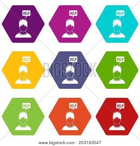 Man needs help icon set many color hexahedron isolated on white vector illustration