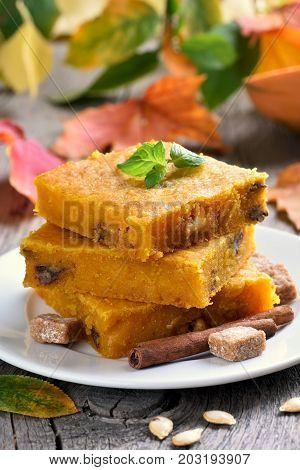 Pumpkin bars with nuts healthy vegetarian dessert