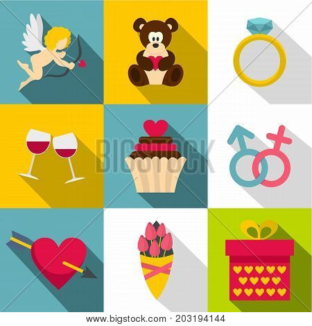Gift for Valentine day icon set. Flat style set of 9 gift for Valentine day vector icons for web design