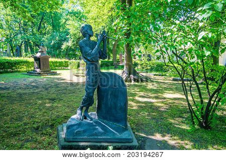 SAINT PETERSBURG, RUSSIA - JUNE, 2015: NECROPOLIS OF ALEXANDER NEVSKY LAVRA. MONUMENT TO RUSSIAN COMPOSER ALEXANDER DARGOMYZHSKY