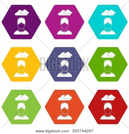 Depressed man with dark cloud over his head icon set many color hexahedron isolated on white vector illustration