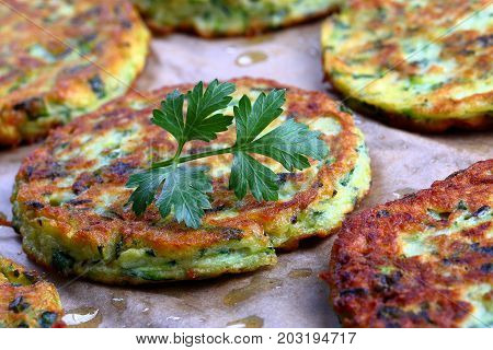 Baked In Oven Zucchini Fritters, Close-up