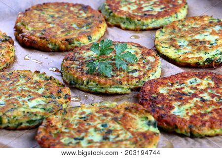 Tasty Zucchini Fritters On Baking Paper