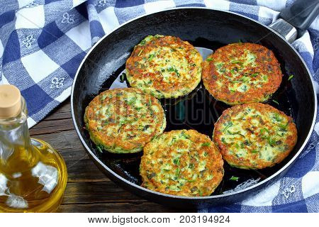 Zucchini Fritters On Skillet, Top View