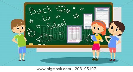 Happy children stand by the school newspaper hanging on the blackboard, kins with papers reading news, fun student campus life vector illustration.