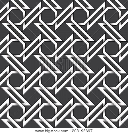Abstract repeatable pattern background of white twisted bands with black strokes. Swatch of shapes plexus in four pointed star form. Seamless pattern in vintage style.