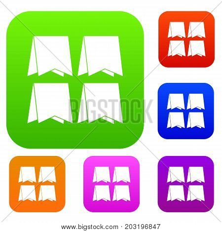 Pennants set icon in different colors isolated vector illustration. Premium collection