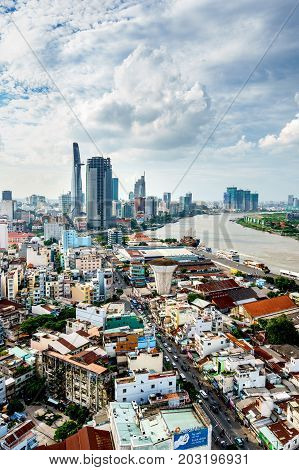 HO CHI MINH, VIETNAM - MAY 05, 2017: Aerial view of Ho Chi Minh city, Vietnam. High, Best royalty free stock image,  high resolution
