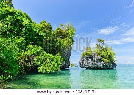 Tropical Clear Sea At Koh Pak Bia Island In Krabi Province, Thailand.