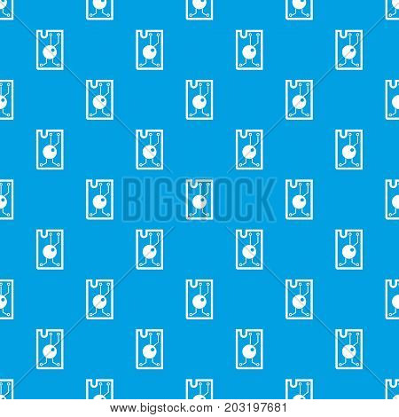 Processor chip pattern repeat seamless in blue color for any design. Vector geometric illustration