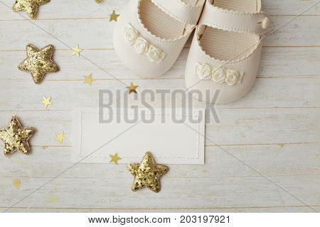 close-up of baby shoes. baby birth greeting card