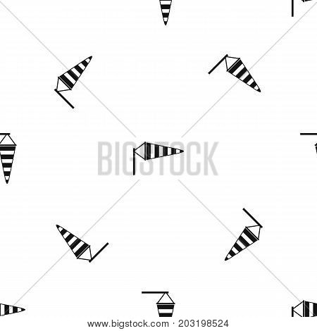 Windsock pattern repeat seamless in black color for any design. Vector geometric illustration