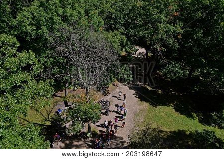 View looking downward on the crowds waiting to climb a fire tower in a forest
