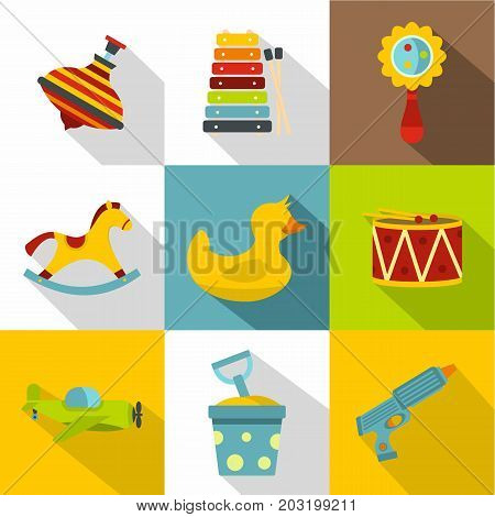 Baby toy icon set. Flat style set of 9 baby toy vector icons for web design