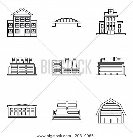 Frontage icons set. Outline set of 9 frontage vector icons for web isolated on white background