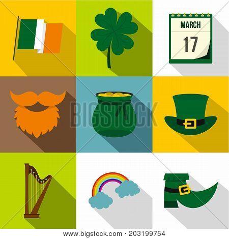 Irish holiday Patrick icon set. Flat style set of 9 Irish holiday Patrick vector icons for web design