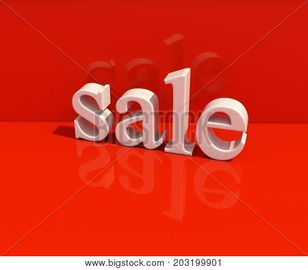 3d Rendering: White Symbol of Sale, 3d Sale Banner Template