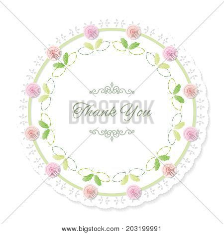 Round doily frame decorated with roses. Thank you. Vector