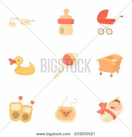 Kid accessories icons set. Cartoon set of 9 kid accessories vector icons for web isolated on white background