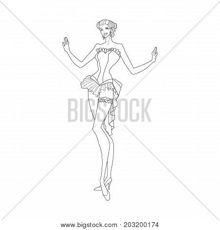 Vector illustration of woman of Western Saloon. Coloring book for adults.