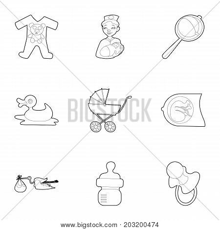 Kid accessories icons set. Outline set of 9 kid accessories vector icons for web isolated on white background