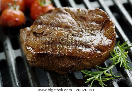 closeup of juicy tenderloin on the grill