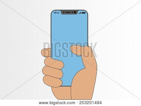 Vector illustration of hand holding modern bezel-free smartphone isolated on white background