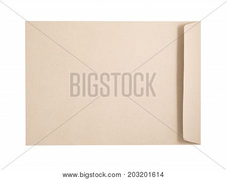 Envelope Made Form Recycle Paper Isolated On A White Background. Clipping Paths Included.