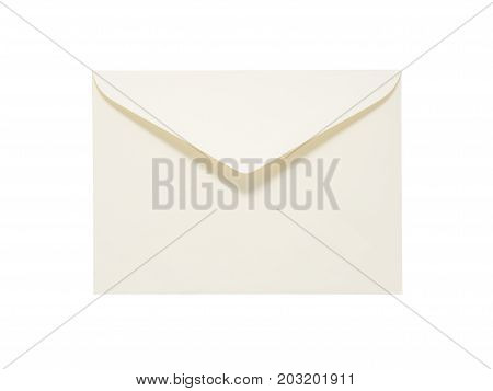 Beige Envelope Isolated On White Background. Clipping Path Included.