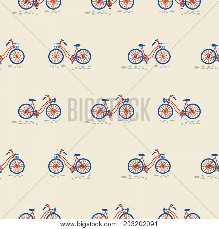 Retro red and blue bicycle with bin on the front wheel seamless vector pattern.