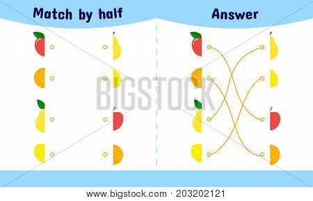 Vector Illustration. Matching Game For Children. Connect The Hal