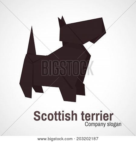 Vector simple illustration paper origami of Scottish Terrier.
