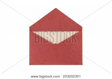 Red Envelope Made From Natural Fiber Paper Isolated On White Background. Clipping Path Included.