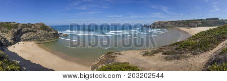 Panoramic view of Odeceixe Beach, Vicentina Coast Natural Park, Algarve Portugal