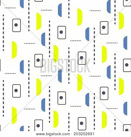 Tiny retro shapes seamless vector pattern. Blue and green basic geometric sixties textile abstract repeat background.