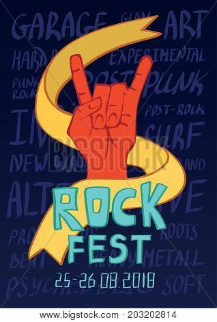 Poster for rock music festival. Hand in rock n roll sign, rock gesture. Vector illustration.