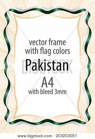 Frame and border of ribbon with the colors of the Pakistan flag
