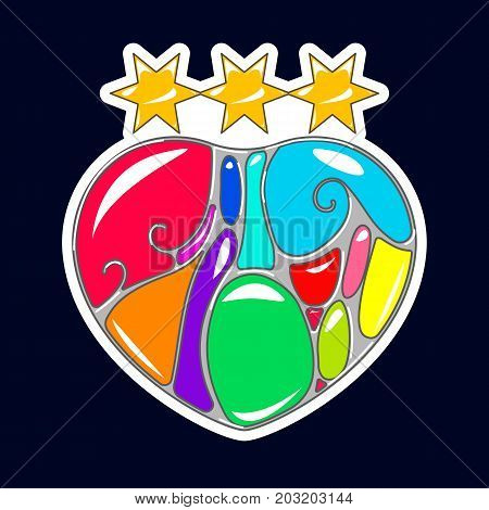 Vector illustration of Heart in style of art Nouveau. Pop art print in flash tattoo style. Multi-colored stones.