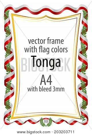 Frame and border of ribbon with the colors of the Tonga flag