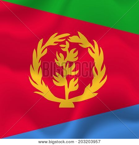 Eritrea waving flag. Waving flag. Vector illustration.