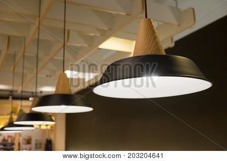 Vintage LED lamp hanging from the ceiling