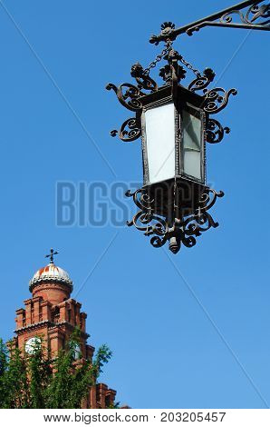Beautiful Iron Lantern On The Background Of The Blue Sky