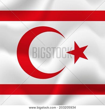 Northern Cyprus waving flag. Waving flag. Vector illustration.