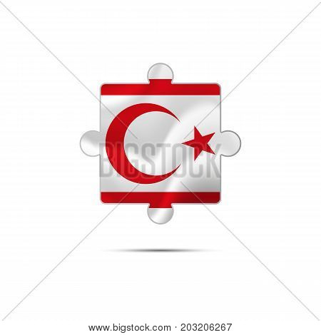 Isolated piece of puzzle with the Northern Cyprus flag. Vector illustration.